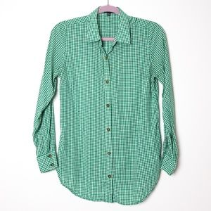 The Limited | Grass and White Gingham Blouse